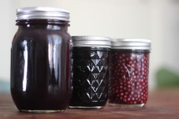 Various medicinal foods  made from Black Elderberries.
